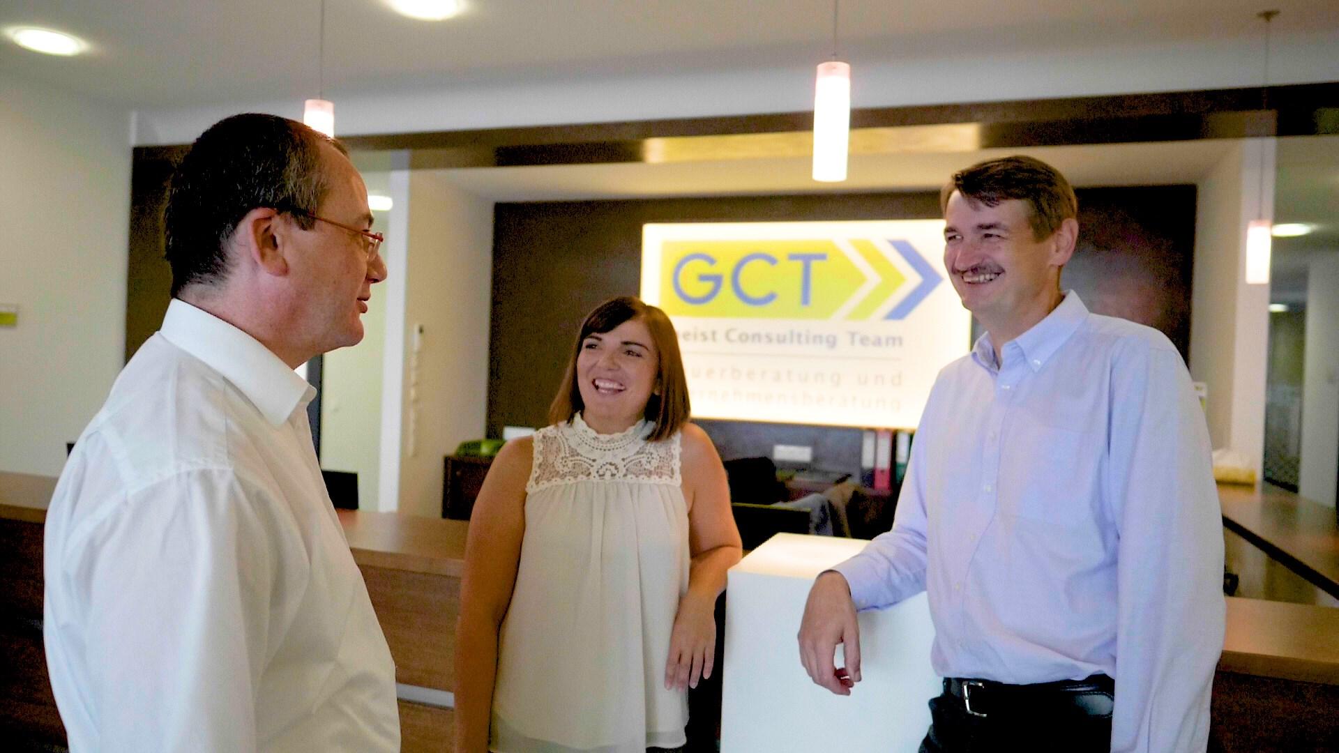 Foto Emfpangsbereich GCT mit Artner, Draskovits und Schlögl