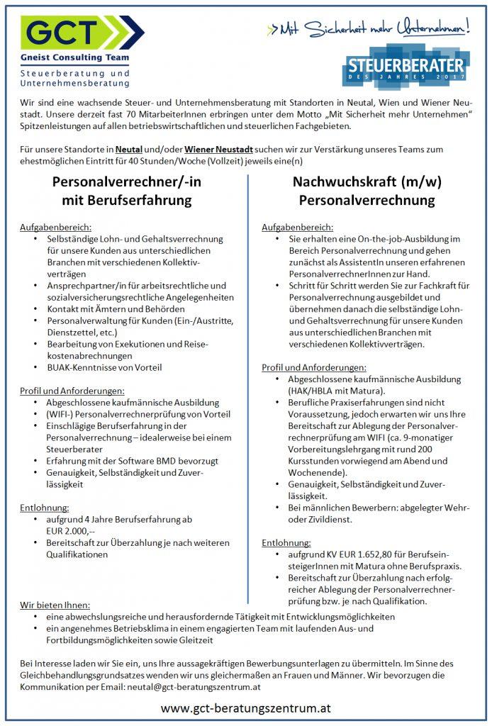 Inserat Personalverrechnung Jänner 2018